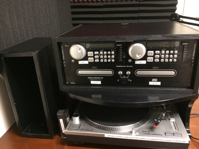 Turntable and CD Player with an LP Holding Box to the left